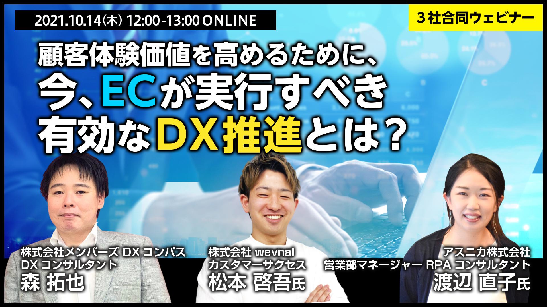 【3社合同ウェビナー】顧客体験価値を高めるために、今、ECが実行すべき有効なDX推進とは?